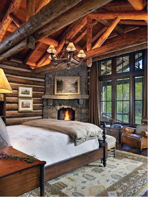 Log Cabin Interior Corner Fireplace Design In Bedroom Of House