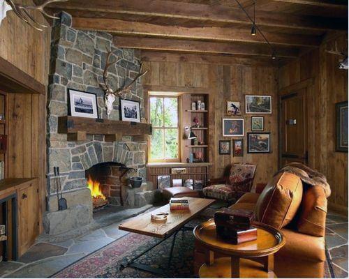 Log cabin stone corner fireplace design inspiration