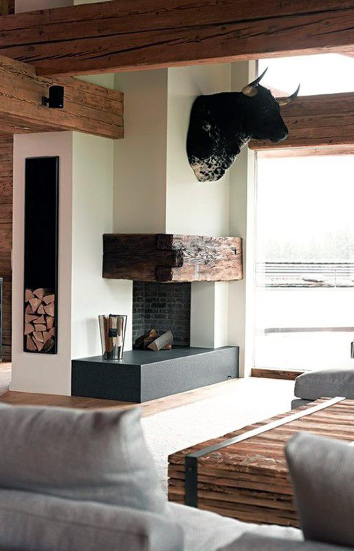 Modern Simple Corner Fireplace Design