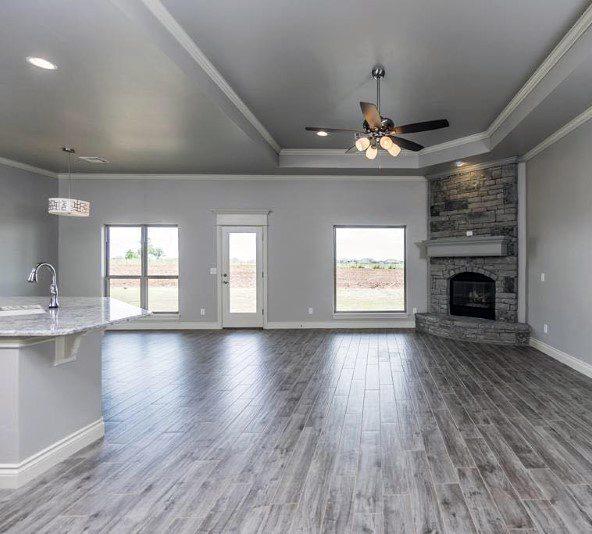Rock Stone Corner Fireplace Design Living Room