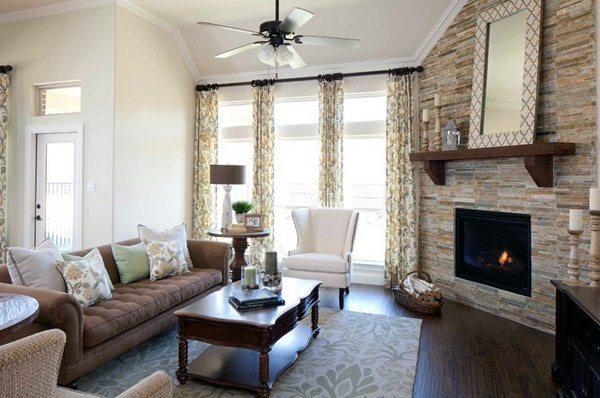 Stone wall corner fireplace design