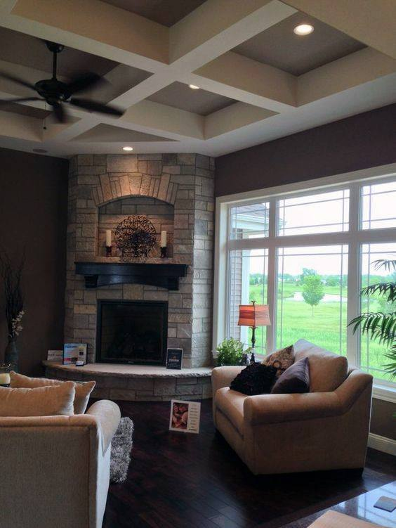 Traditional corner fireplace design living room