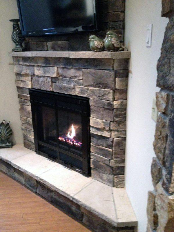 Vintage Stone Corner Fireplace Design Ideas