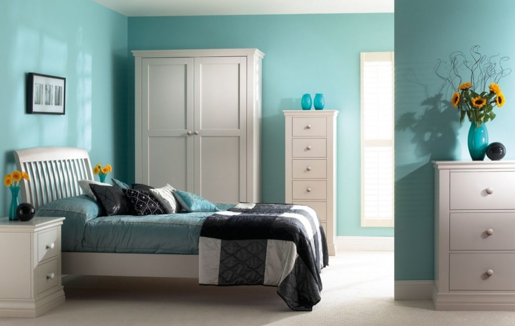 bedroom with turquoise walls