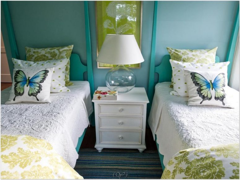 bedroom yellow turquoise