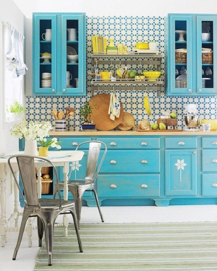 Deep Turquoise And Yellow Kitchens