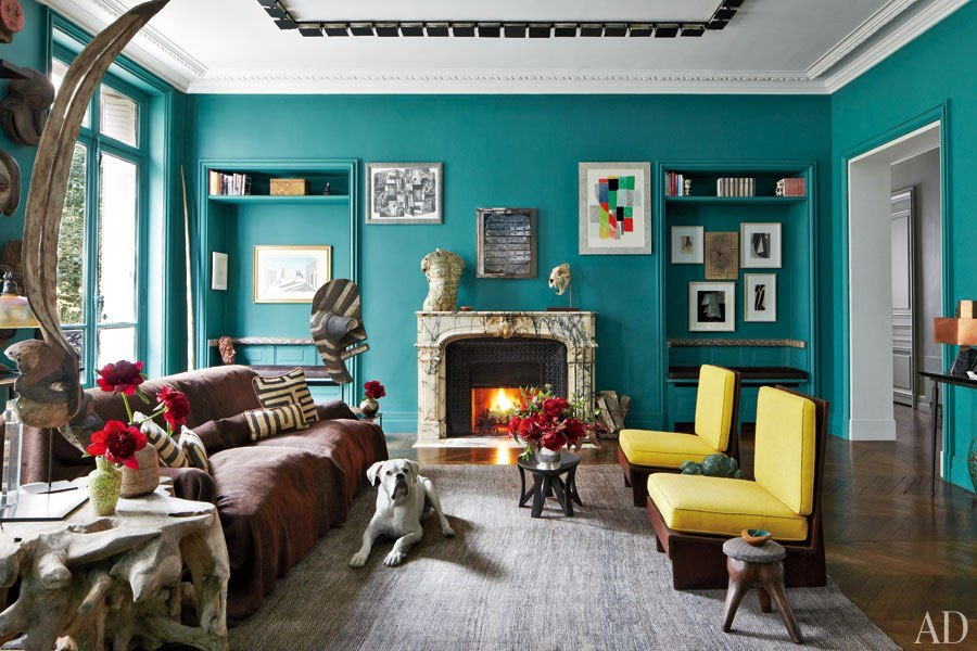 green and turquoise room