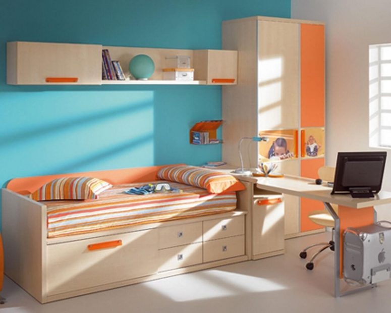 orange and turquoise room