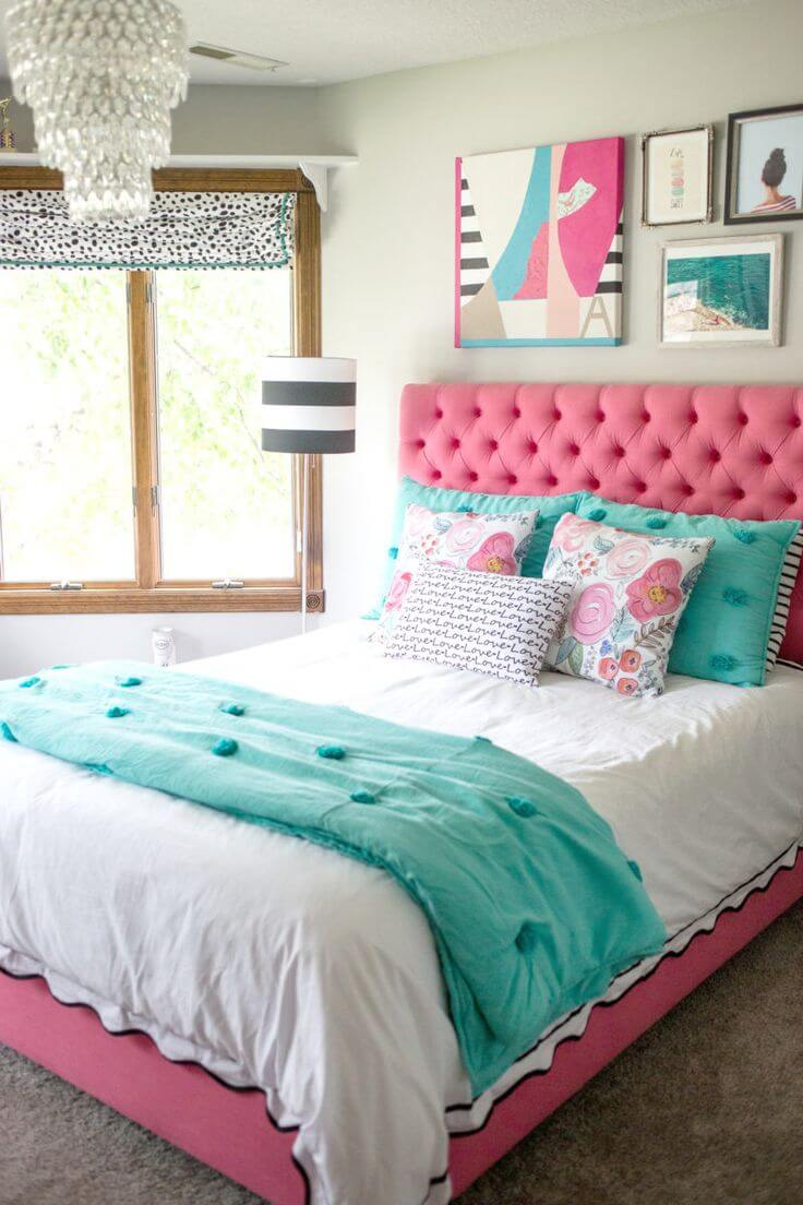 pink and teal bedroom
