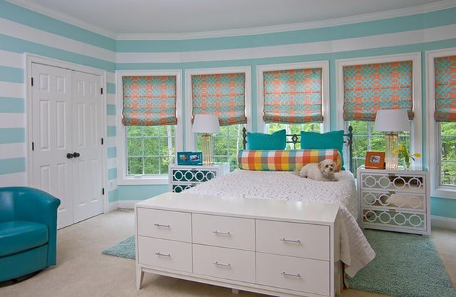 the turquoise accents in