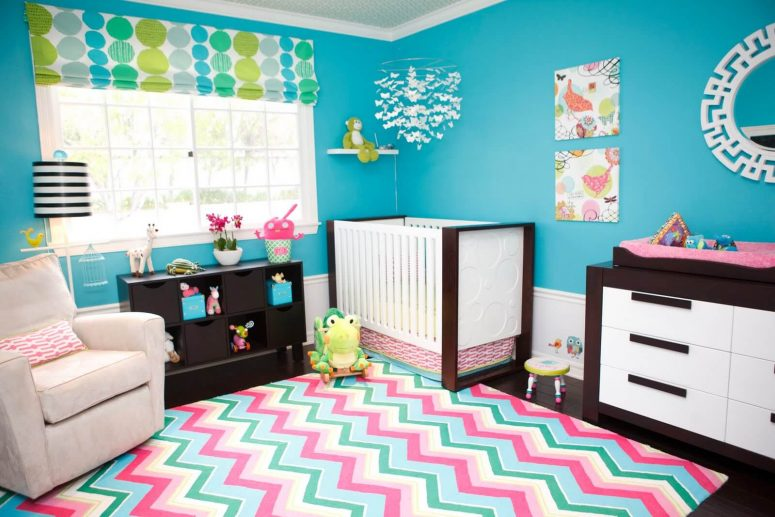turquoise and pink room
